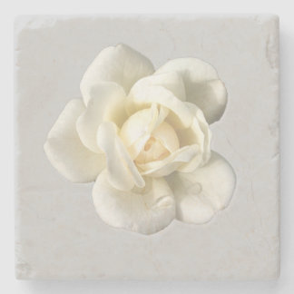 White Rose on Silver Gray Stone Drink Coaster