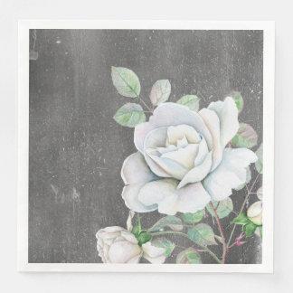White Rose on Weathered Black Paper Napkins