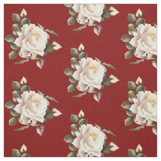White Rose Pattern (maroon) Fabric