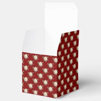 White Rose Pattern (maroon) Favor Box
