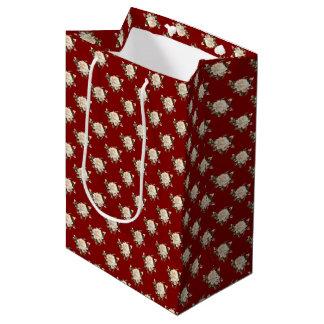 White Rose Pattern (maroon) Medium Gift Bag