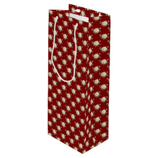 White Rose Pattern (maroon) Wine Gift Bag