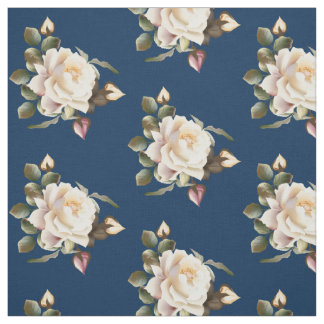White Rose Pattern (navy blue) Fabric