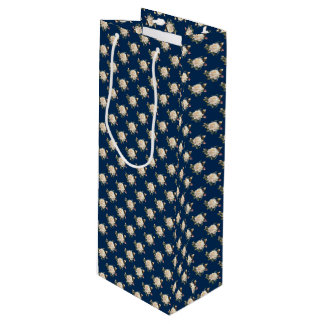 White Rose Pattern (navy blue) Wine Gift Bag