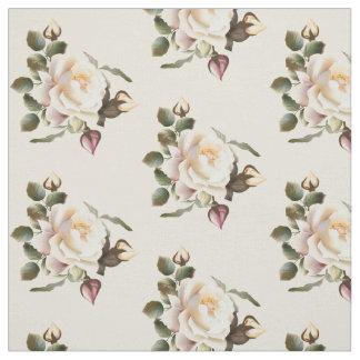 White Rose Pattern (sand) Fabric