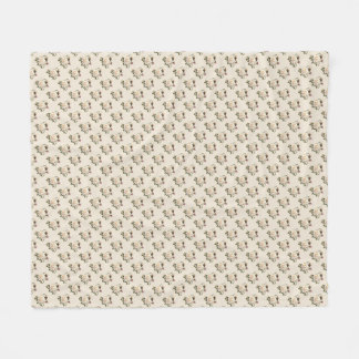 White Rose Pattern (sand) Fleece Blanket
