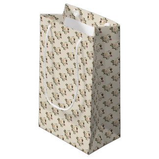 White Rose Pattern (sand) Small Gift Bag