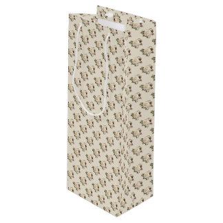 White Rose Pattern (sand) Wine Gift Bag