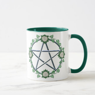 White Rose Pentagram Pentacle Pagan Coffee Mug