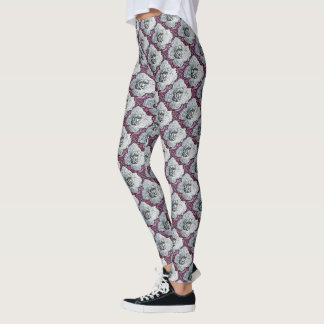White Rose Pink Moon Patterned Leggings
