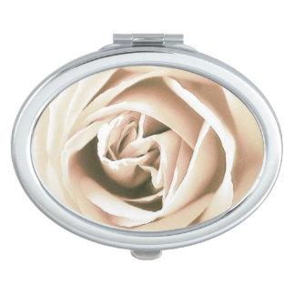 White rose print makeup mirror