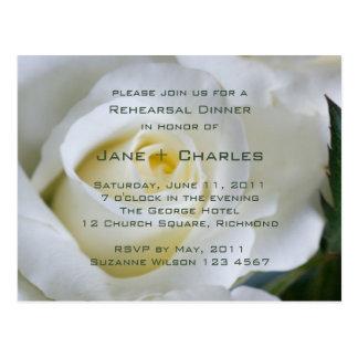 White Rose • Rehearsal Dinner Invitation Postcard