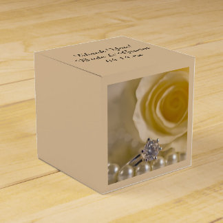 White Rose, Ring and Pearls Wedding Favor Box