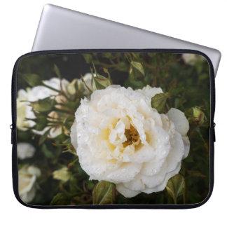 White Rose Rosebuds and Raindrops Laptop Sleeve