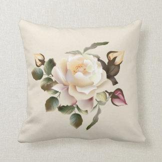 White Rose (sand) Throw Pillow
