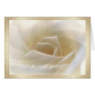 """White Rose """"Save The Date"""" Card"""