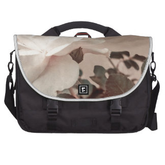 White Rose Vintage Style Photo in Ocher Colors. Laptop Bags