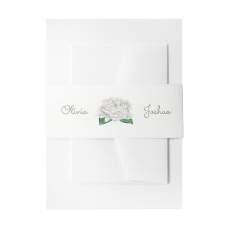 White Rose Wedding Invitation Belly Bands Invitation Belly Band