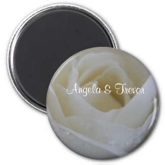 White Rose Wedding Magnet