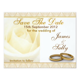 "White Rose & Wedding Rings Save The Date Card 4.25"" X 5.5"" Invitation Card"