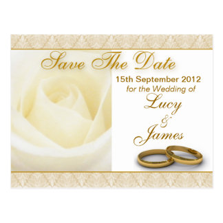 White Rose & Wedding Rings Save The Date Card Postcard