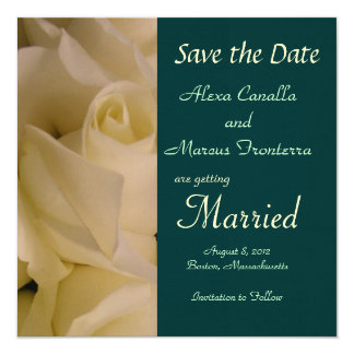 White Rose Wedding Save the Date Announcement Card