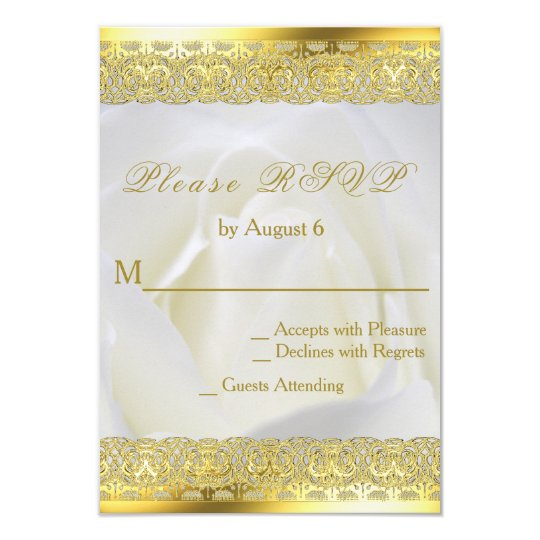 White Rose with Gold Lace Wedding Card