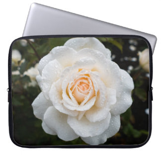 White Rose with Raindrops Laptop Sleeve