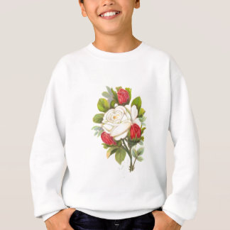 White Rose with Red Buds Sweatshirt