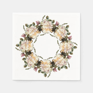 White Rose Wreath Cocktail Paper Napkins