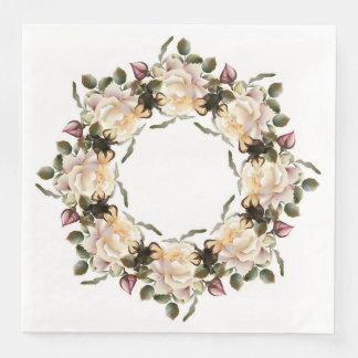 White Rose Wreath Dinner Paper Napkins