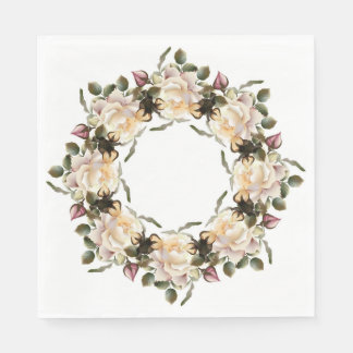White Rose Wreath Luncheon Paper Napkins