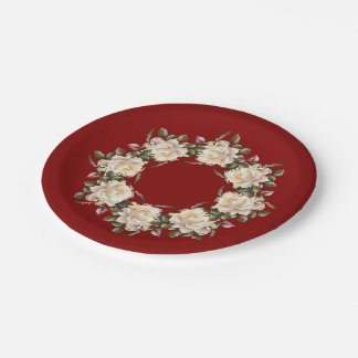 White Rose Wreath (maroon) 7 Inch Paper Plate