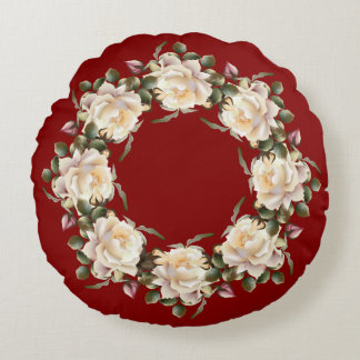 White Rose Wreath (maroon) Round Pillow