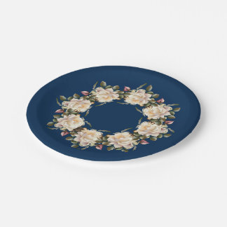 White Rose Wreath (navy blue) 7 Inch Paper Plate