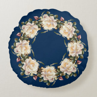 White Rose Wreath (navy blue) Round Pillow