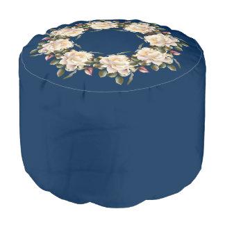 White Rose Wreath (navy blue) Round Pouf