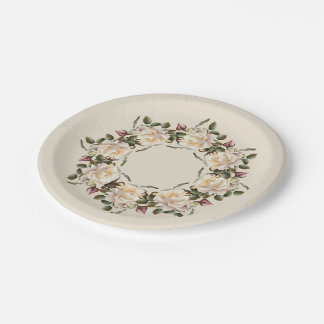 White Rose Wreath (sand) 7 Inch Paper Plate