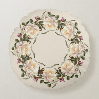 White Rose Wreath (sand) Round Pillow