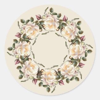 White Rose Wreath (sand) Round Stickers