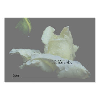 White Rosebud Floral Wedding Table Place Cards Business Card Templates