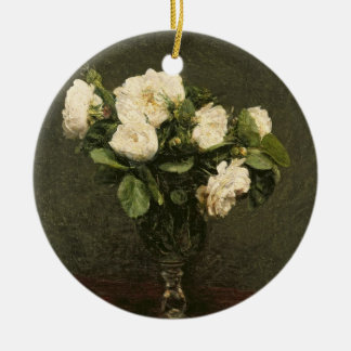 White Roses, 1875 (oil on canvas) Round Ceramic Ornament