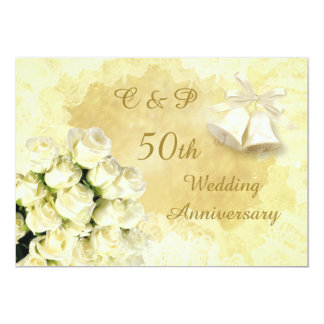 "White roses and bells 50th Wedding Anniversary 5"" X 7"" Invitation Card"