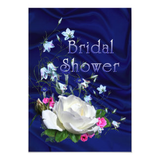 White Roses and Bluebells Bridal Shower Card