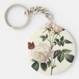 white roses and butterflies, Pierre Joseph Redouté Keychain