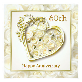 "White roses and heart 60th Wedding Anniversary 5.25"" Square Invitation Card"