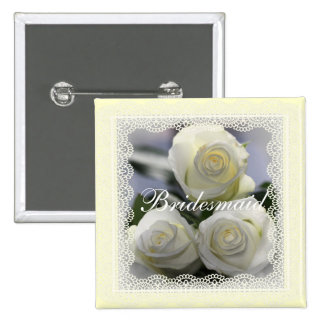 White Roses and lace Wedding badges 2 Inch Square Button