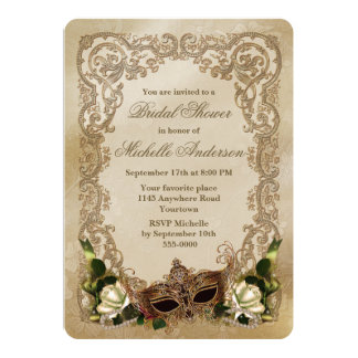 "White Roses and Masquerade Mask Bridal Shower 5"" X 7"" Invitation Card"