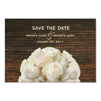 "White Roses & Barnwood Wedding Save The Date 3.5"" X 5"" Invitation Card"