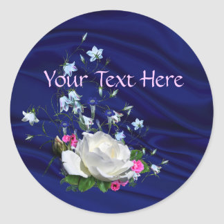 White Roses, Blue Bells and Pinks Bridal Shower Round Sticker